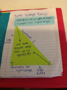 Pg Right Triangle Basics (Optional - Used this my second year, but not my third.) Pg Pythagorean Theorem LEFT: We took a s. Geometry Interactive Notebook, Teaching Geometry, Teaching Math, Interactive Notebooks, Teaching Ideas, Math 8, Math Class, Math Resources, Math Activities