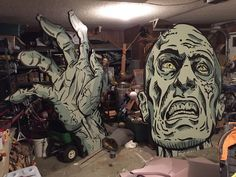 Cheap large decoration for Halloween party - project image onto foam board and paint. Wow! On Halloween Forum