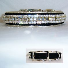 """A two-tone leather dog collar with black suede leather and soft silver metallic leather lining. Clear and large silver Swarovski Crystals decorate this gorgeous """"bling"""" collar. For medium to large dogs. Diy Dog Collar, Leather Dog Collars, Cat Collars, Designer Dog Collars, Metallic Leather, Suede Leather, Black Suede, Happy Animals, Love Pet"""