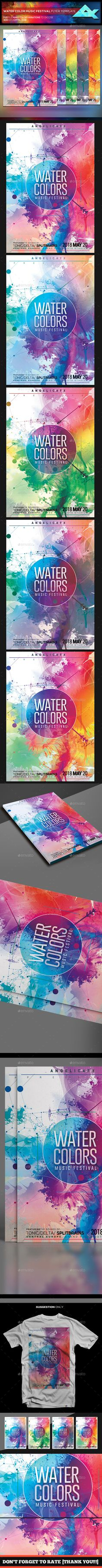 Water Color Music Festival Flyer Template PSD