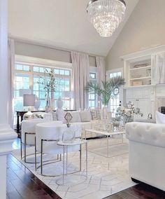 Glam Living Room, Living Room Decor Cozy, Elegant Living Room, Luxury Living Rooms, Elegant Home Decor, White Home Decor, Decor Room, Formal Living Rooms, Bedroom Decor