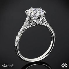 "Gloriously detailed, Vatche ""Swan"" French Pave Diamond Engagement Ring"