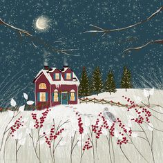 Red Holiday Cottage by Joy Laforme Art And Illustration, Watercolor Illustration, Christmas Drawing, Christmas Art, Principe William Y Kate, Landscape Artwork, To Infinity And Beyond, Winter Art, Art Graphique