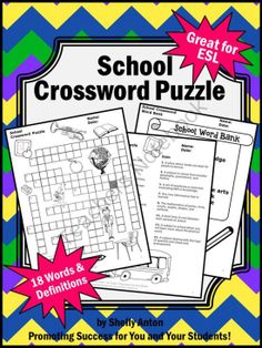 End of the Year Activities School Vocabulary Crossword Puzzle ESL from Promoting Success on TeachersNotebook.com -  (5 pages)  - End of Year Activities: This school vocabulary crossword puzzle will work well with your end of the year activities. It is also great for ESL students! You will receive a crossword puzzle, word clues, a word bank, and an answer key - all on separate pages