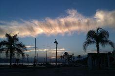 "Sunset at ""Plaza del Padre Ciganda"" in El Palo, Malaga (Andalusia, Spain)"