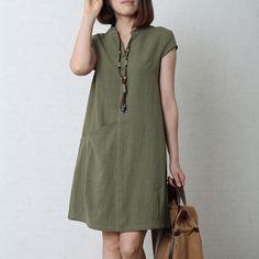 Tea green cotton sundress oversize summer linen dress