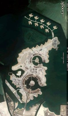 The Pearl of Qatar development, on the coast in Doha, Qatar; seen from 19,000 feet. Image from Google Earth.