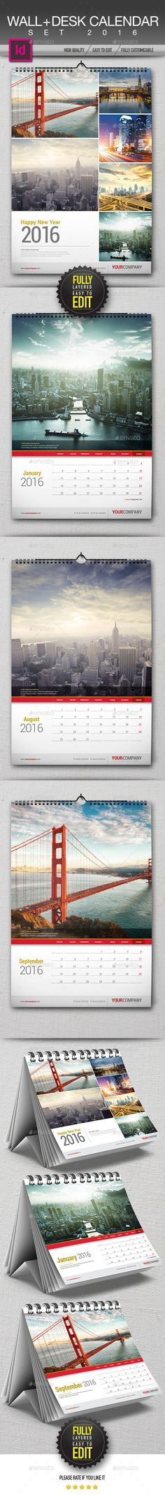 Wall + Desk Calendar 2016 Template InDesign INDD #design Download: http://graphicriver.net/item/wall-desk-calendar-2016/13236673?ref=ksioks