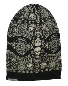 Black and White Skull Slouchy Beanie silver, gold, brass, women's, men's, apparel, accessory, goth, emo, heavy metal, rocker, rock star, punk, black, rock the f out, fashion