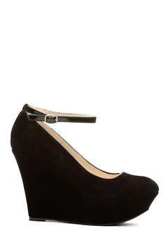 1d052ceed659 Black Faux Suede Ankle Strap Platform Wedges   Cicihot Wedges Shoes Store Wedge  Shoes