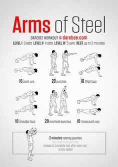 Neila Rey originally shared: Arms of Steel Workout What it works: Triceps deltoids upper back chest obliques biceps lower back core abs cardiovascular system aerobic performance Max). Fitness Workouts, Gym Workout Tips, Toning Workouts, Workout Challenge, At Home Workouts, Arm Workout No Equipment, Bodyweight Arm Workout, Arm Exercises, Parkour Workout