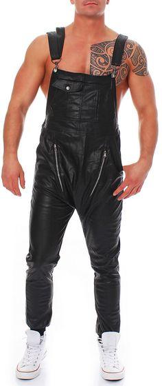 Sixth June Herren Latzhose Dungarees Kunst Lederhose Jeans leather pant | eBay