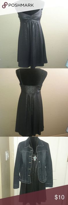 Black Shiny Dress This dress is so ready to slip on and hit the night life...Add a jean jacket and some boots and you can do the 92% Polyester, 8% Spandex Hyntoptik Dresses Midi