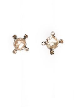 The Woods Faceted Raw Diamond Studs Surrounded by Four Bezel Set Diamonds at ShopGoldyn.com