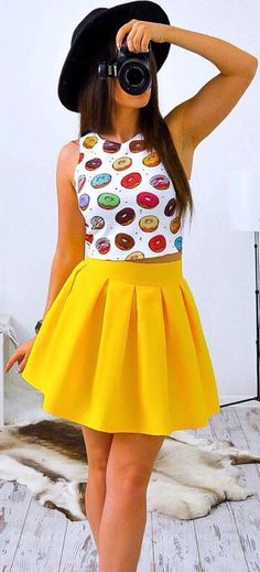 #summer #fashion Yellow pleated skirt and Bright sleeveless crop top