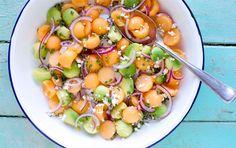 Melonsalat med avokado og karse