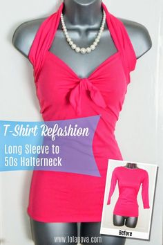 DIY SHIRT : DIY Refashion a Long Sleeve T-Shirt. Could make a really cute swimsuit like this, maybe even use the leftovers for shorts? Diy Clothing, Sewing Clothes, Shopping Outfits, T-shirt Refashion, Clothes Refashion, Umgestaltete Shirts, Diy Vetement, Diy Couture, Diy Shirt