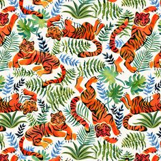 Rainforest Animals Fabric - Lazy Tigers By Solnca Lych - Jungle Tigers Orange Green Cotton Fabric By The Metre by Spoonflower Cotton Twill Fabric, Cotton Canvas, Watercolor Tiger, Rainforest Animals, Painting Patterns, Green Cotton, Surface Design, Custom Fabric, Spoonflower