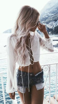 lace up love summer style wtih denim shorts