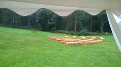Hay bales laid out for guests