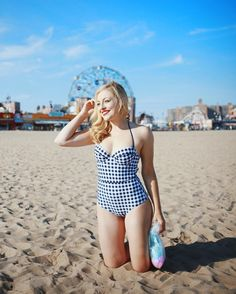 I  this retro gingham one-piece  #pinup