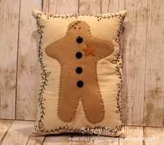 Handmade Primitive Christmas Pillow by ScrapbookingCottage on Etsy, $25.00