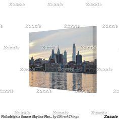 Philadelphia Sunset Skyline Photo Canvas Print