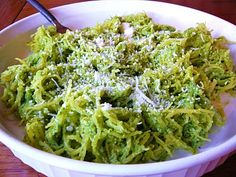 Spaghetti Squash with Arugula Pesto-  sounds like a healthy lunch!