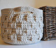 Large Storage Basket Rustic Home Decor Beige Catchall Crocheted Decor Supply Holder op Etsy, £25.20