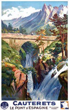 Cauterets - Le Pont d'Espagne - France - 1937 - illustration de E. Paul Champseix