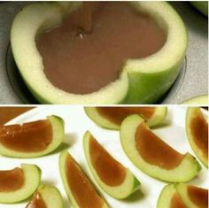 Inside out caramel apples! 3 granny smiths. Melon ball out insides & soak in lemon juice. 2 cups caramels melted with 2 Tbsp corn syrup and cooled 15 minutes. Dry apples. Fill with caramel & refrigerate 30 minutes. #Halloween