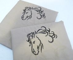 Custom Embroidered Horse Pillow Cases/Bedding  Standard by hpiehl, $18.00