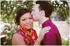 Portrait of a bride and groom in their traditional red chinese wedding outfits. Photos by Crystal Sujata