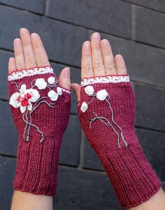 Hand Knitted Fingerless Gloves, Orchid, Ribbon Embroidery, For Women, Accessories, Gloves & Mittens,   Elegant, Red Wine, Grey, White, Cozy