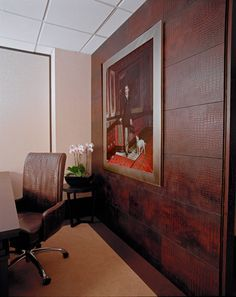 Rust Crocodile Leather Tile Office Wall Installation