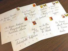 Calligraphy envelopes from The Ginger Pen Lettering Design, Hand Lettering, Calligraphy Envelope, Envelopes, Handwriting, Calligraphy, Hand Drawn Type, Hand Type, Penmanship