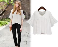 Thin Lotus Sleeve Pleated Pure Color Chiffon Shirt