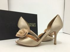 0dc6870a44de Badgley Mischka Thora Nude Satin Women s Evening High Heel Open Toe Pumps  7.5 M… Evening