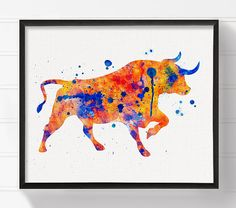 High quality print of my original watercolor artwork Furious Bull.  Professionally printed on heavy weight (230 g. 9-5 mil), acid-free, high