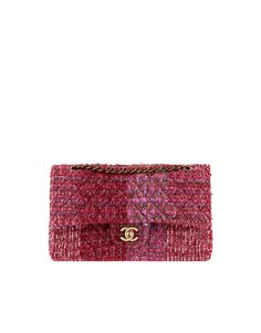 Chanel Red and Blue Tweed Timeless Classic Flap Bag - Prefall 2014