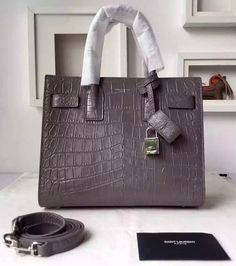 Saint Laurent Classic Baby SAC DE JOUR Bag in Gray Crocodile Embossed Leather sale at USD 406. Free Shipping by courier to your address. Find more on http://www.luxtime.su/ysl-bags