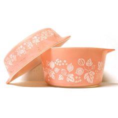 Vintage Pink Gooseberry Pyrex Casserole Dishes