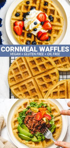 Vegan Cornmeal Waffles These Vegan Cornbread Waffles are crispy on the outside while still light and fluffy on the inside. Enjoy as a sweet or savory breakfast/brunch and freeze any leftovers for meal prep! Vegan Cornbread, Gluten Free Cornbread, Gluten Free Waffles, Vegan Gluten Free Breakfast, Vegetarian Breakfast, Vegetarian Meals, Healthy Waffles, Savory Waffles, Savory Breakfast