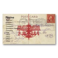 Vintage Postcard and Chandelier Business Card
