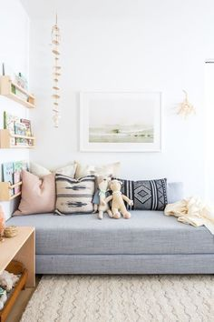 Friday Inspiration: Navy and Black Kids room. Utah home design. Home. Home inspiration. Design by 100 Layer Cake-let Playroom Decor, Bedroom Decor, Bedroom Lamps, Wall Lamps, Bedroom Lighting, Modern Bedroom, Bedroom Wall, Playroom Seating, Modern Daybed
