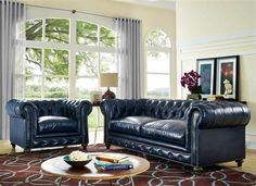 Durango Classic Brown Blue Bonded Leather Living Room Set