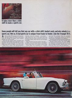 Items similar to 1965 Triumph Sports Car Ad Vintage Convertible Advertisement Print Garage Wall Art Decor on Etsy Vintage Sports Cars, Exotic Sports Cars, Cool Sports Cars, Retro Cars, Sport Cars, Exotic Cars, Vintage Cars, Pony Car, Coventry