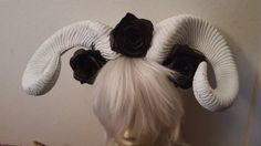 Horns Ram horns White horns Flower crown Black by msformaldehyde