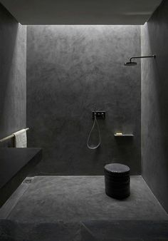 All black bathroom   Villa E in Morocco by Studio Ko
