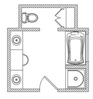 cool floor plan can, be adapted. Private tub room where toilet & closet are now, with curtain. Single sink close to door. Nice large linen closet next to sink. Toilet where shower is. Master Bathroom Layout, Basement Bathroom, Bathroom Flooring, Master Bedroom, Master Closet, Master Suite, Bathroom Floor Plans, House Floor Plans, Bathroom Ideas